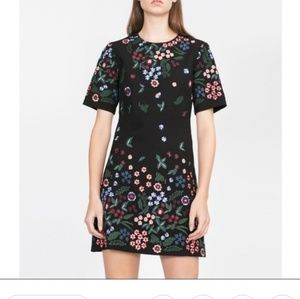 Zara Woman Black Floral Embroidered Dress Small